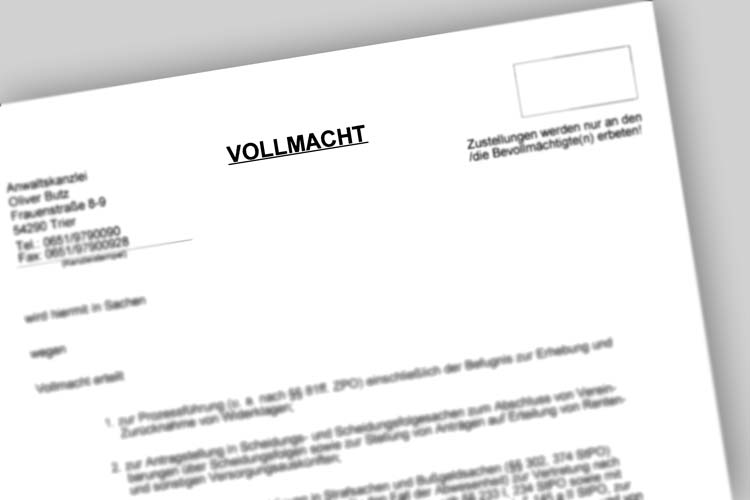 Anwalt Mietrecht Trier Vollmacht